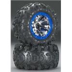 Tires/Wheels Assembled Blue Beadlock 1/16 Summit