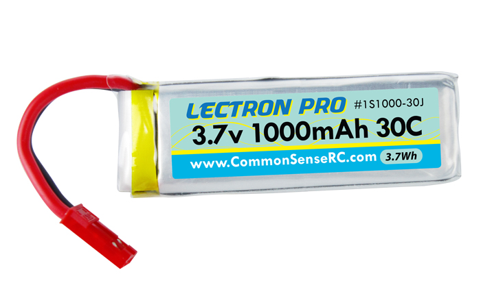 Common Sense RC Lectron Pro 3.7V 1000mAh 30C Lipo Battery with JST Connector for