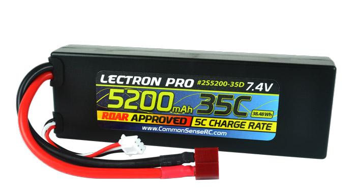 Common Sense RC Lectron Pro 7.4V 5200mAh 35C Lipo Battery with Deans-Type Connec