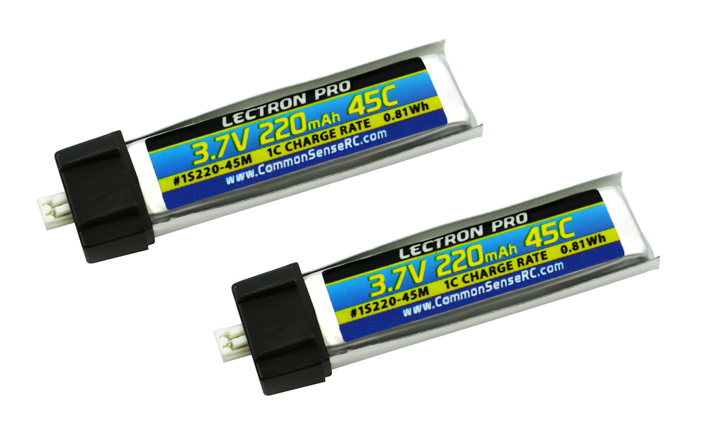 Common Sense RC Lectron Pro 3.7V 220mAh 45C Lipo Battery 2-Pack for Blade mCX, m