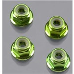 4mm Flanged Nuts Green (4)