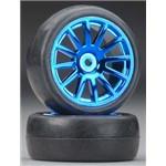 Tires/Wheels Assembled Glued 12-Spoke Blue (2)