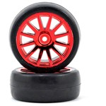 Tires/Wheels Assembled Glued 12-Spoke Red (2)